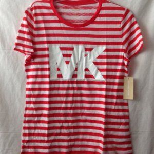 MICHAEL KORS Striped T-Shirt Sz M Poppy Red